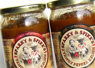 Sparky and Spike's Tangy Pepper Relish Label and Packaging Design
