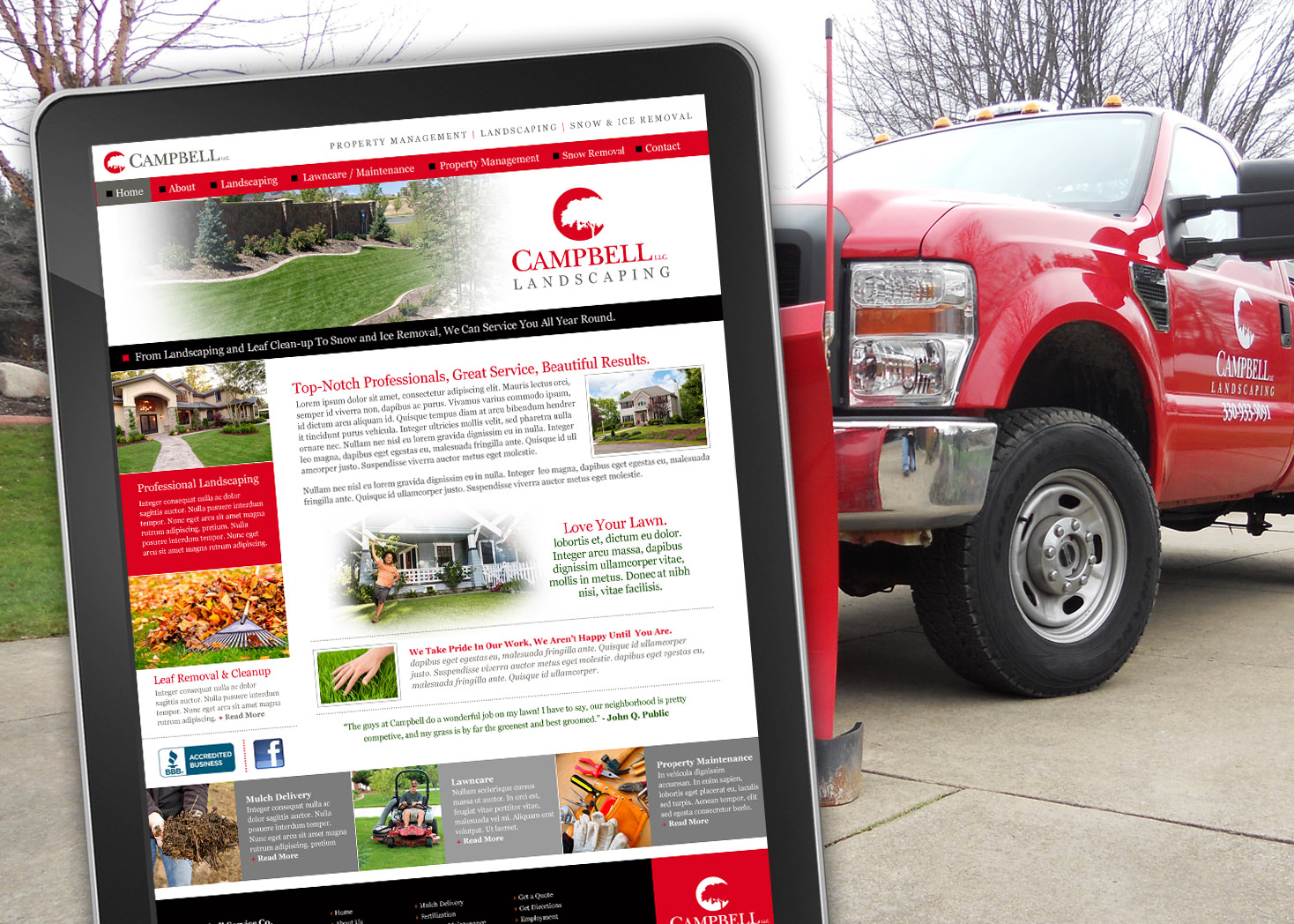 Campbell Landscaping LLC - Website Design - Les Lehman Design