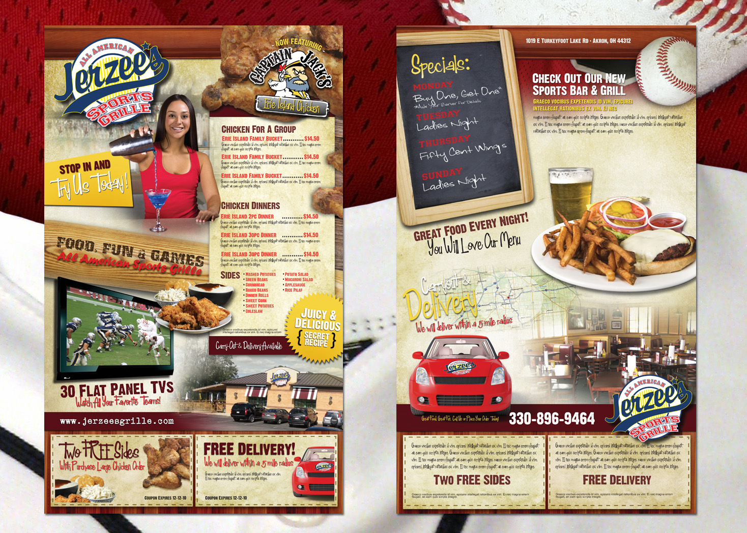Jerzee's Sports Grille - Menu Design - Lehman Design