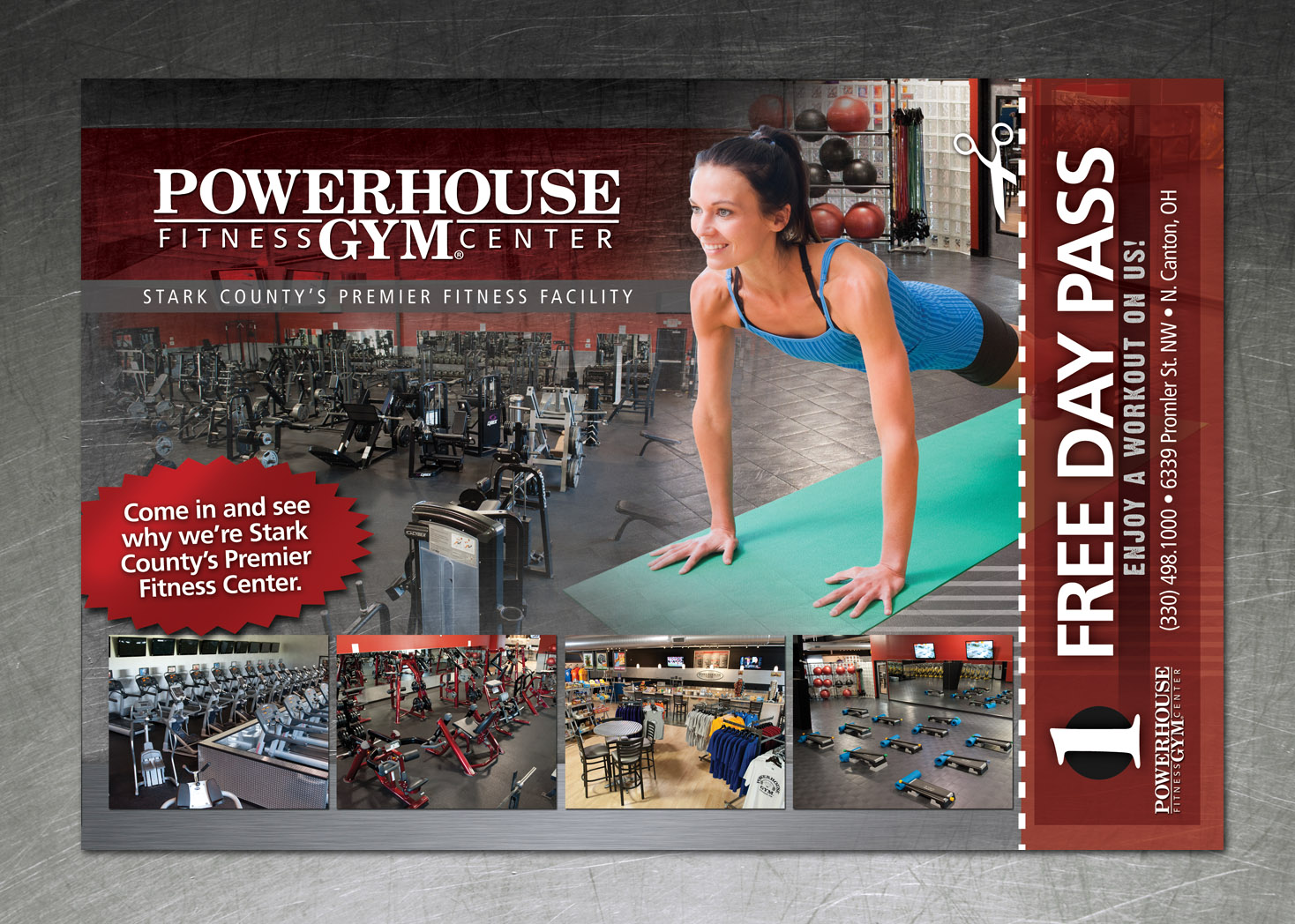 Powerhouse Gym Marketing Postcard - Lehman Design