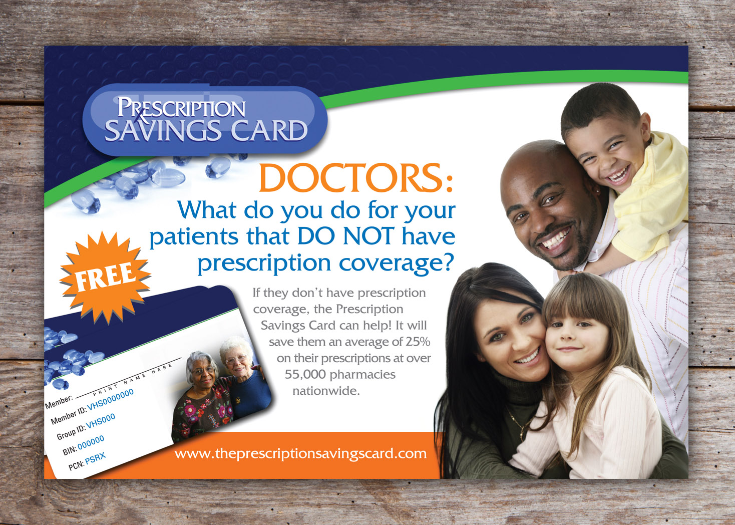 The Prescription Savings Card Direct Mail Postcard - Lehman Design