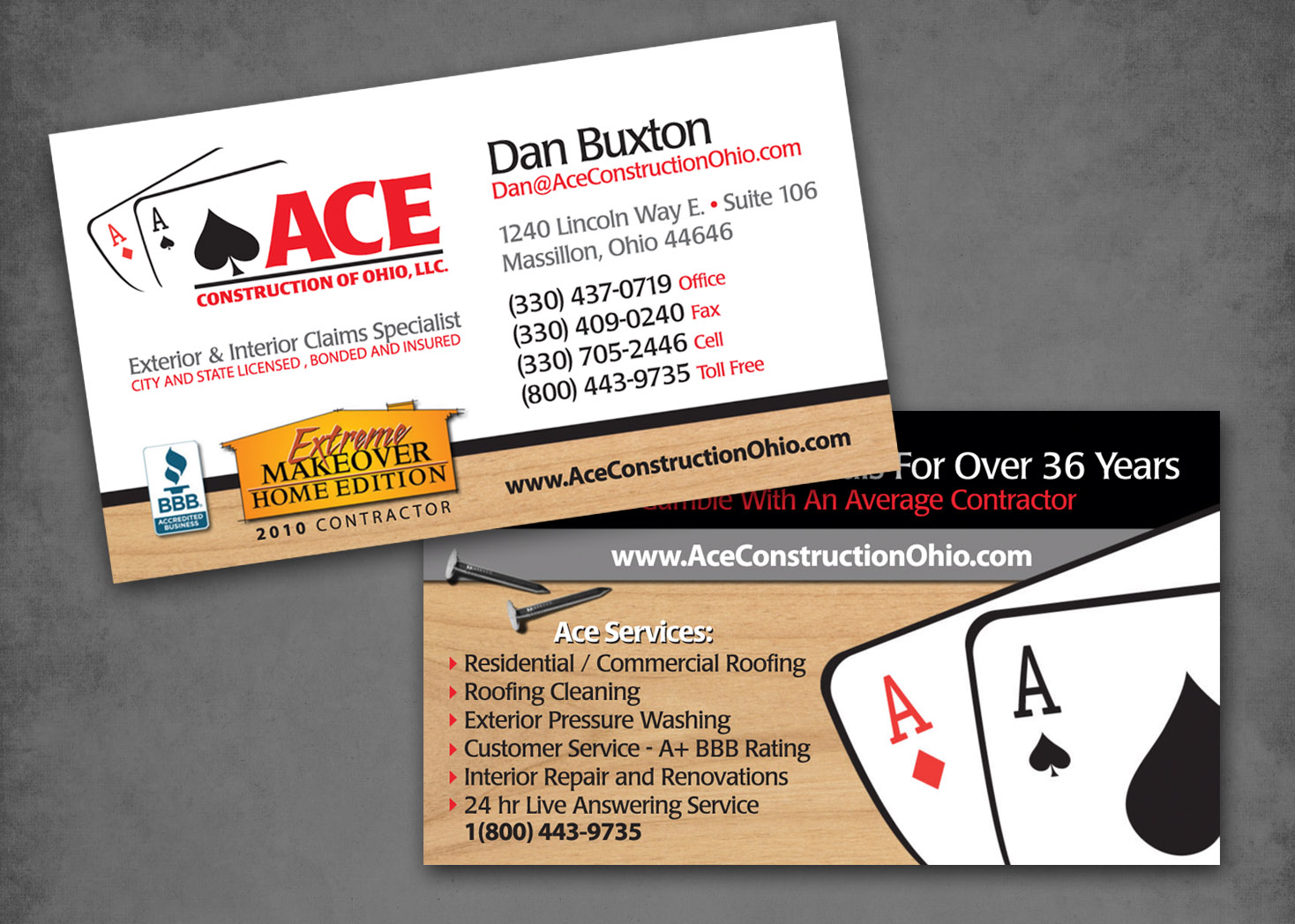 Ace construction business card design les lehman website design ace construction business card design print and visual graphic design reheart Image collections