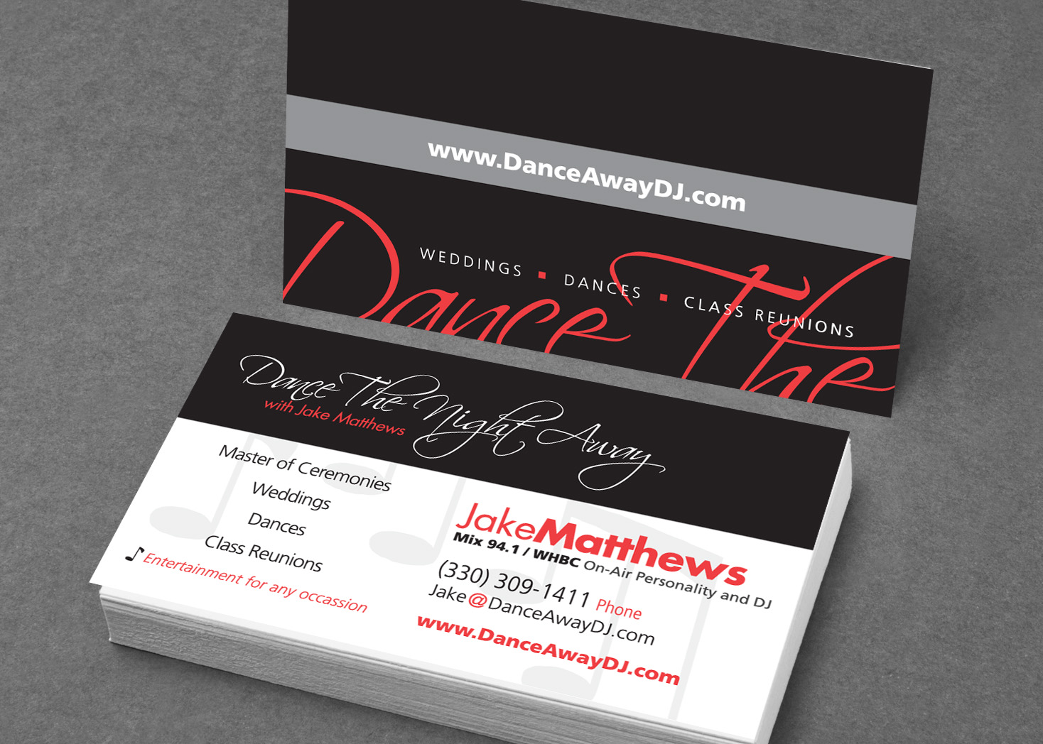 Dance away dj business card design les lehman website design and print and visual graphic design colourmoves