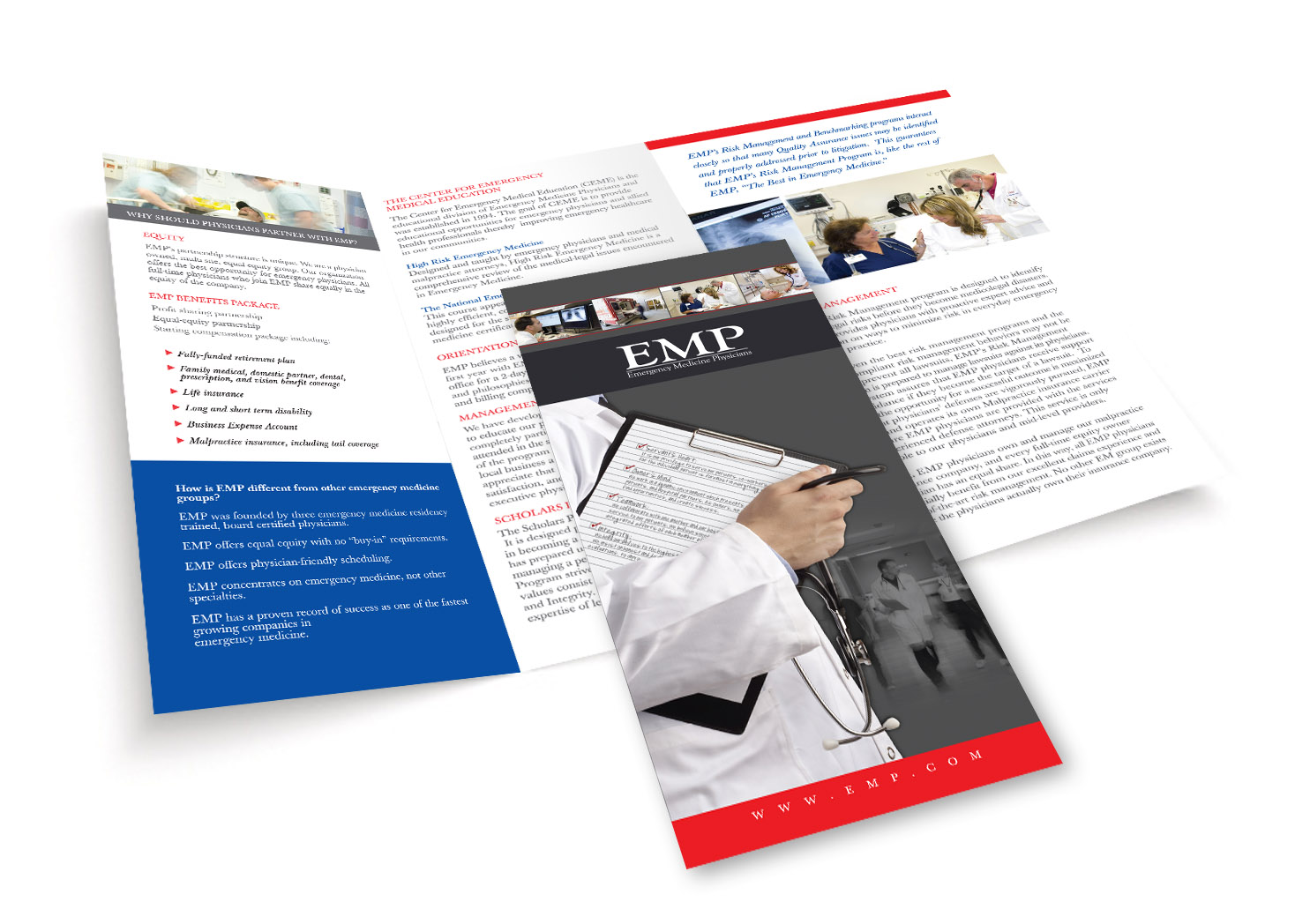 Emergency Medicine Physicians - Trifold Brochure Design - Lehman Design