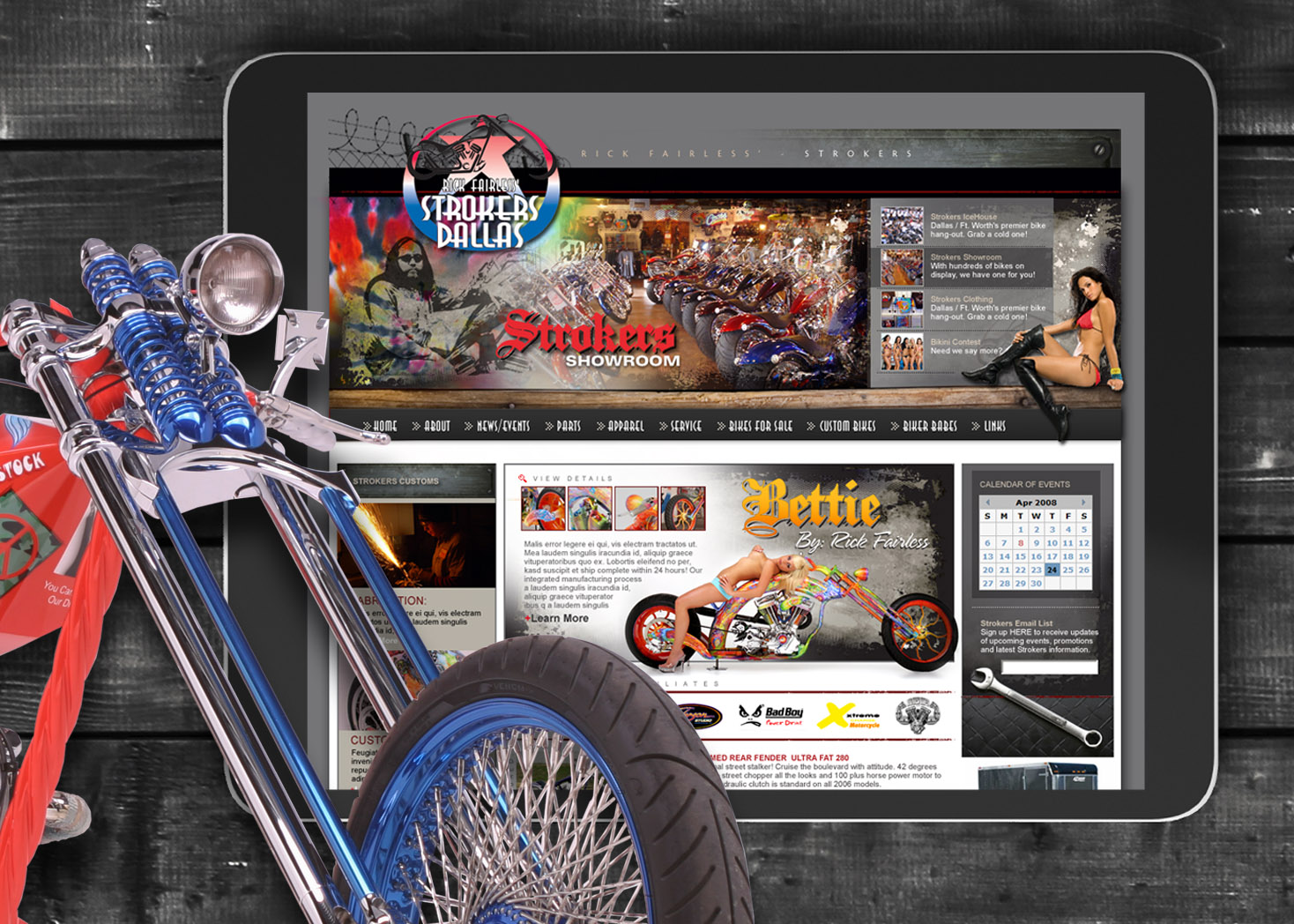 Strokers Dallas Custom Motorcycle Website Design 2 - Lehman Design