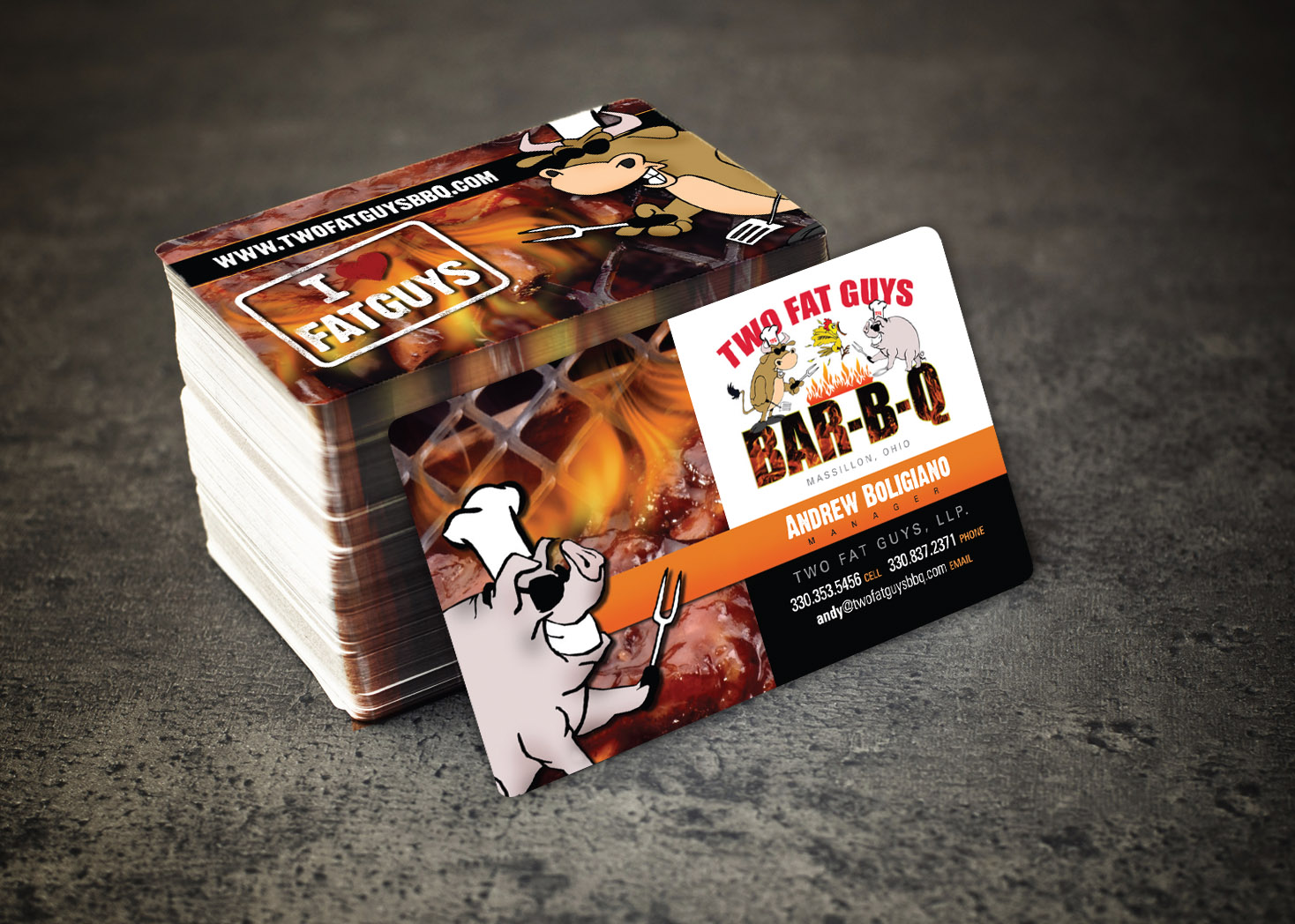Two Fat Guys BBQ - Business Card Design - Lehman Design