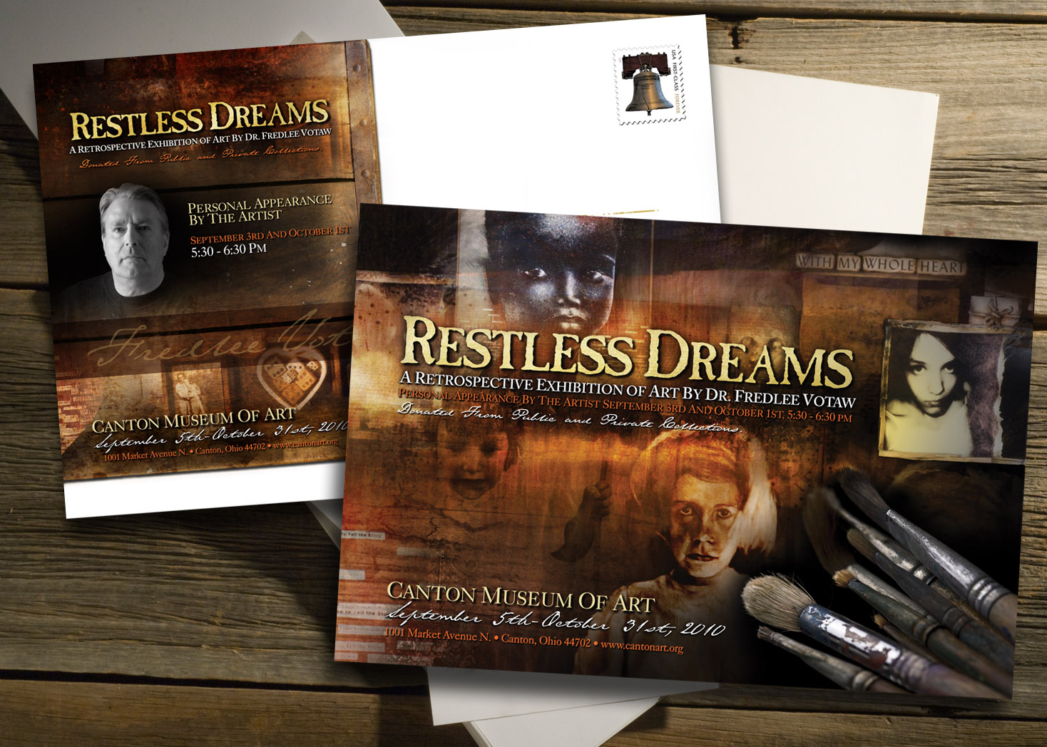 Dr. Fredlee Votaw Restless Dreams Postcard Design - Les Lehman Design