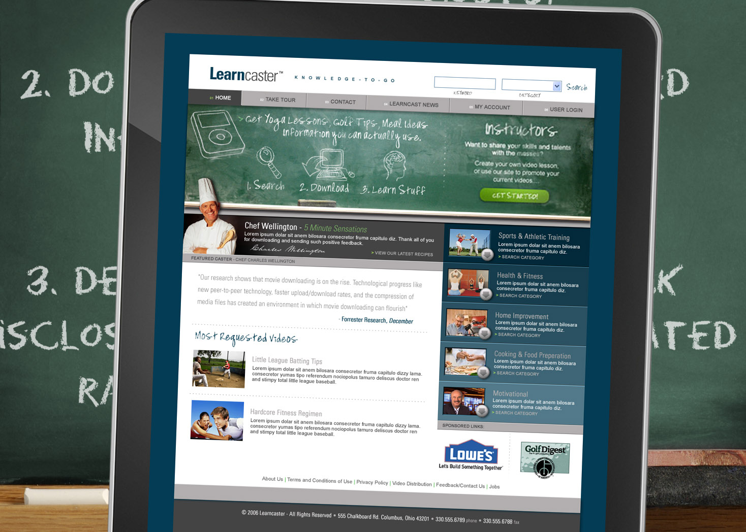 Learncaster - Website Design - Les Lehman Design