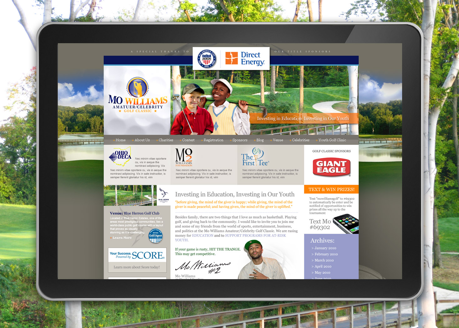 Mo Williams Celebrity / Amateur Golf Classic - Website Design - Les Lehman Design