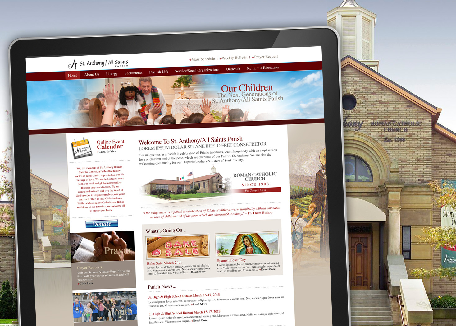 St Anthony All Saints Church - Website Design - Les Lehman Design